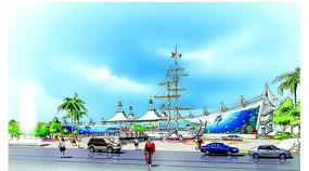 海洋馆建筑彩色手绘