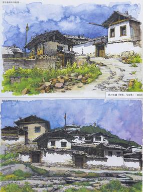 徽派寺庙建筑景观手绘