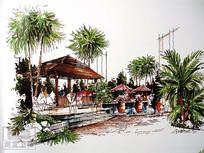 水池亭子景观手绘