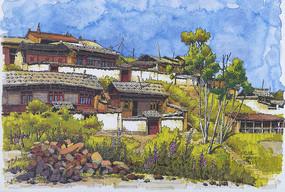 寺庙建筑景观手绘