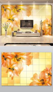 现代橙色鲜花瓷砖沙发电视背景墙