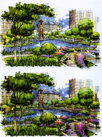 小区水池景观彩色手绘