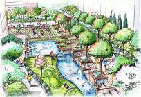 小区水池景观手绘