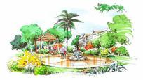 小区庭院景观手绘