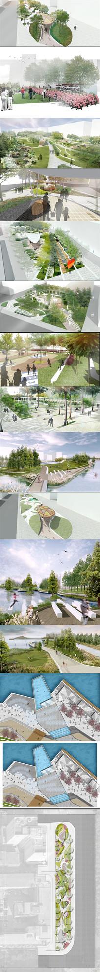 PSD分层国际竞赛风格公园滨水湿地