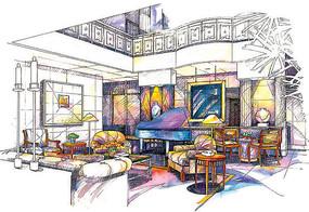餐廳鋼琴演奏區彩色手繪 JPG
