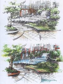 小区公园手绘