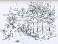 小区景观手绘线稿