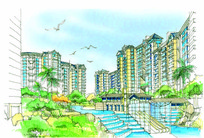 住宅小区建筑彩色手绘