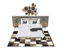 北欧风格的白底蓝点床铺木制床头柜 SU模型