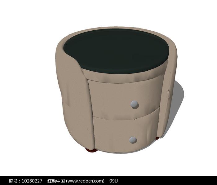 北欧风格的皮制坐凳SU模型图片