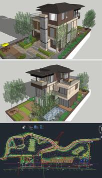 三层别墅草图SU模型带CAD