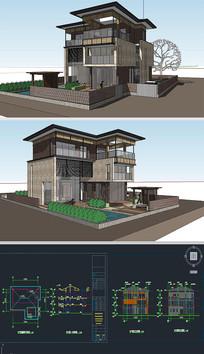 别墅草图大师模型带CAD
