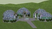 玻璃组合球形建筑模型