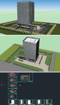 高层办公楼草图大师模型带CAD图
