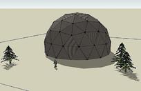 黑色现代球形建筑模型