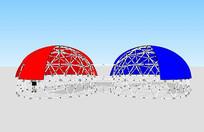 红蓝穹顶建筑模型