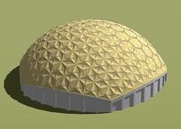 黄色现代穹顶建筑模型