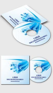 蓝色科技大气商务光盘封面设计模板