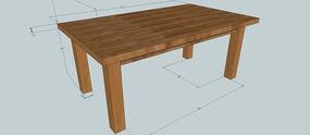 木桌含尺寸SU模型