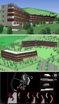 山地旅馆SU模型含CAD图