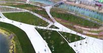 上海城市休闲绿地公园风光俯拍视频