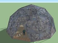 现代穹顶玻璃建筑模型