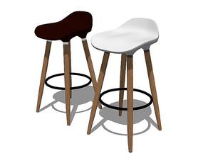 北欧风格高脚两色的坐凳SU模型