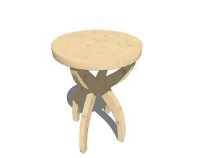 北欧风格交叉四条腿的坐凳SU模型