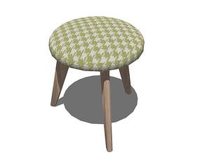 北欧风格绿格子的坐凳SU模型