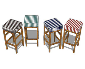 北欧风格四方竖条纹的坐凳SU模型