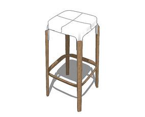 北欧风格四方形白色的坐凳SU模型