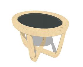 北欧风格四条腿黑色的坐凳SU模型