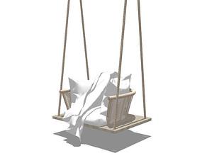 北欧风格藤编的吊椅SU模型