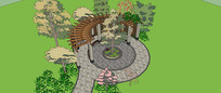 公园景观长廊SU模型