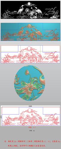 荷花松鹤背板精雕图