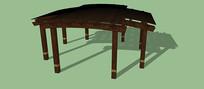 横竖交叉型木质棚架SU模型