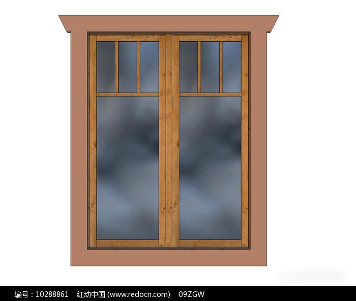 简约中式木窗su模型图片