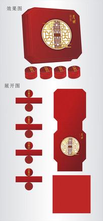 中国风中秋节月饼盒设计cdr
