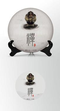 佛像茶叶棉纸茶饼包装设计