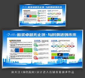 蓝色企业文化宣传栏