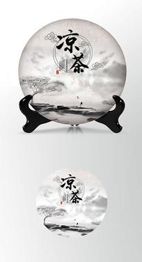 凉茶精华茶叶棉纸茶饼包装设计