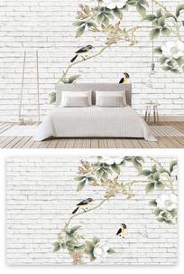 简洁创意花鸟背景墙装饰画