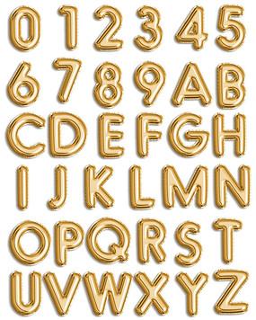 金色气球数字字体