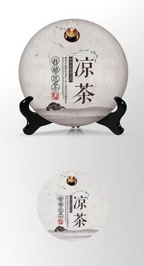 凉茶茶叶棉纸茶饼包装设计