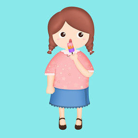 原创插画吃冰棍的小女孩