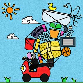 卡通创意搬运搬家元素