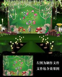 绿色森系婚礼舞台背景板