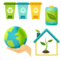 原创元素清新可爱环保元素