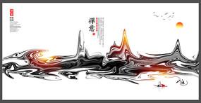 古风禅意文化宣传展板设计